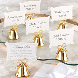 Gold Kissing Bells Place Card/Photo Holder (Set of 24)